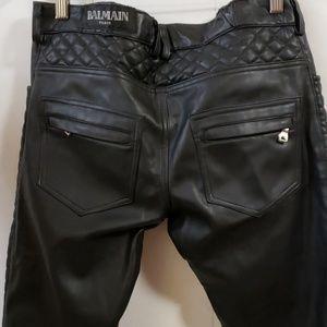 Balmain Black leather Women's pants Size 48
